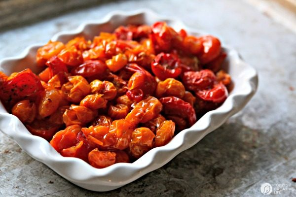 Slow Roasted Tomatoes | Whole cherry tomato recipe | TodaysCreativeLife.com