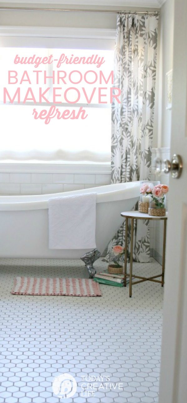 Budget Friendly Bathroom Decorating | Room Makeover | Bathroom Refresh | Bright and White Bathroom Decorating ideas | Farmhouse French inspired | Your Home Based Mom Bathroom on TodaysCreativeLife.com AD #BHGLivebetter