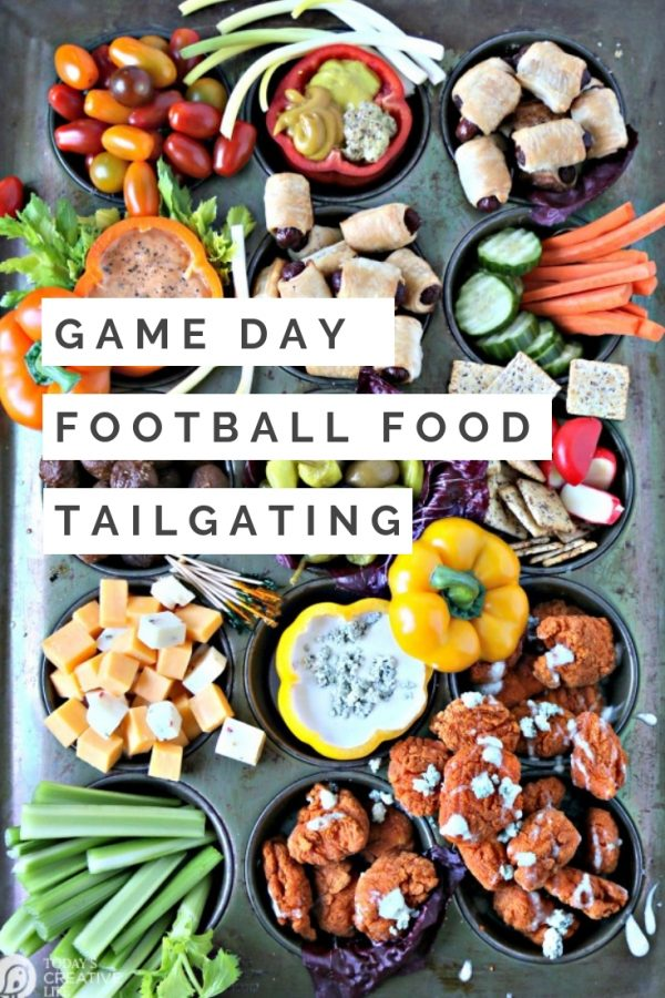 Simple Tailgate Food Ideas Easy tailgating party food | Tailgate party at home | Tailgate party tips | Football Game Day Charcuterie Board | Unique Party Platter | TodaysCreativeLife.com