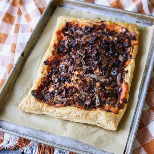 Puff Pastry Bacon and Onion Savory Tart | TodaysCreativeLife.com