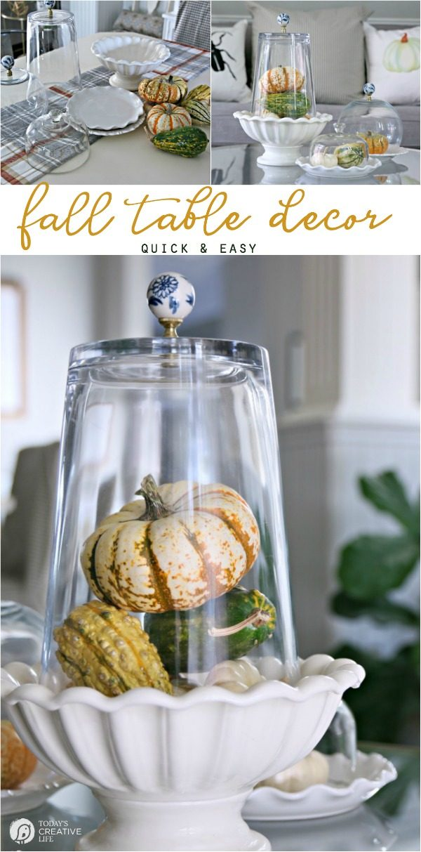 Simple Fall Table Decor | Easy fall home decor | Decorating for fall | Inexpensive ways to decorate for fall | Table Centerpiece | Thanksgiving Table Decoration | TodaysCreativelife.com