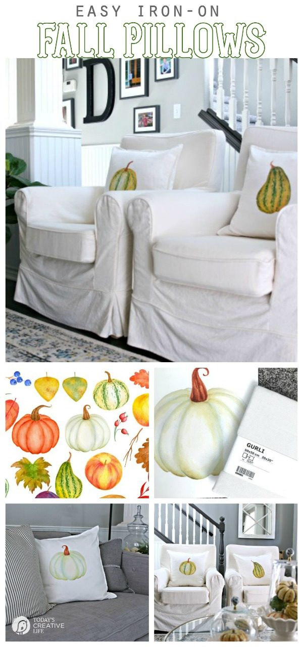 DIY Pillows for Fall | Easy Iron-on Transfer Crafts | Pumpkin Decor | Budget-friendly Fall decorating | Pillows for Autumn | TodaysCreativeLife.com