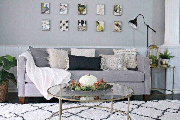 Simple Fall Decorating Ideas | Inexpensive Area Rug for Living Room TodaysCreativeLife.com