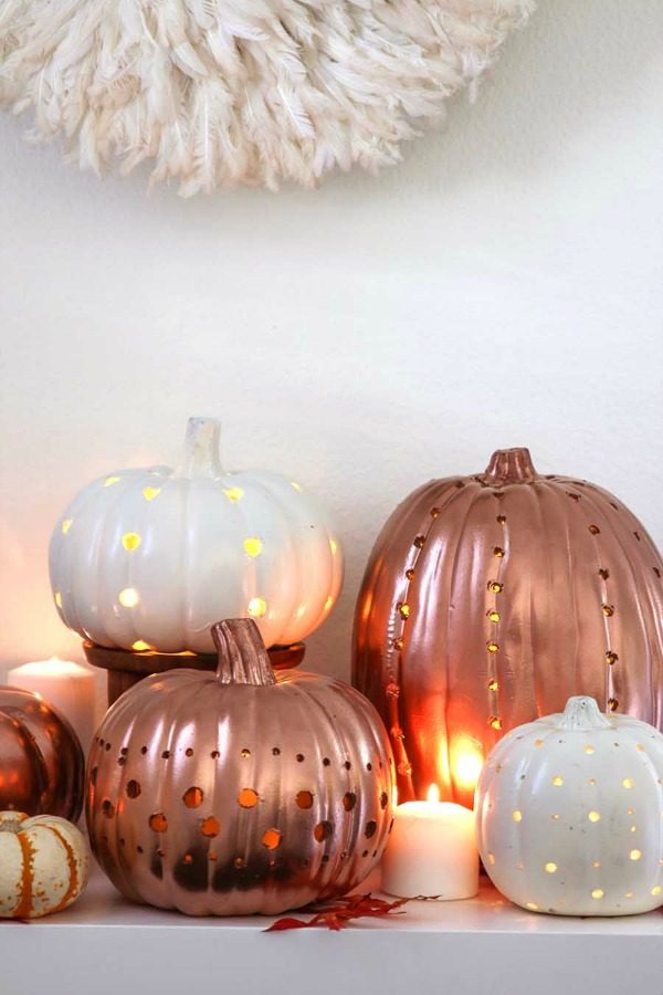 Copper Painted Pumpkin Luminaries | Modern Glam
