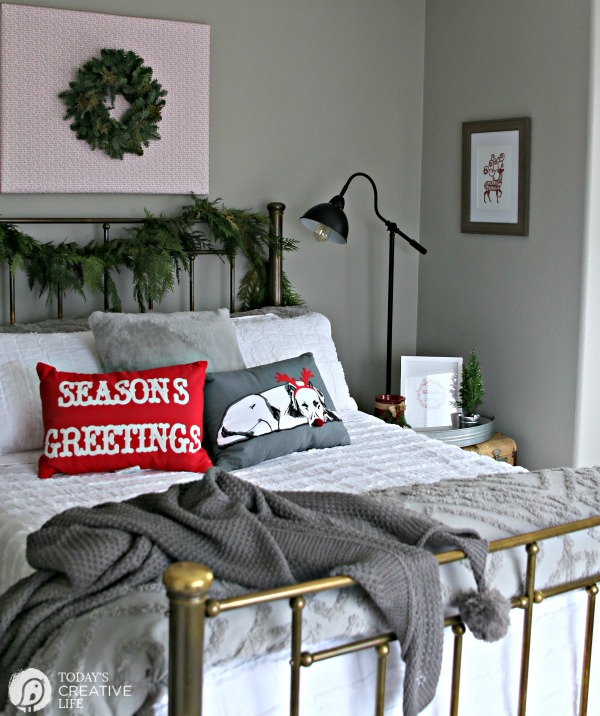 Holiday Guest Bedroom Makeover | Guest Bedroom Ideas | Christmas bedroom | TodaysCreativeLife.com