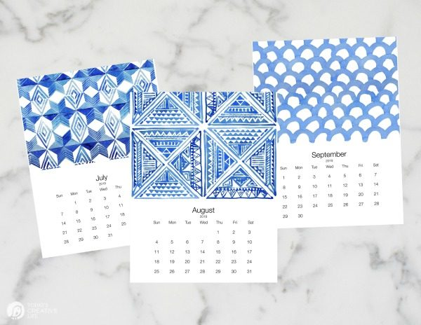 2019 Free Printable Calendar | TodaysCreativeLife.com