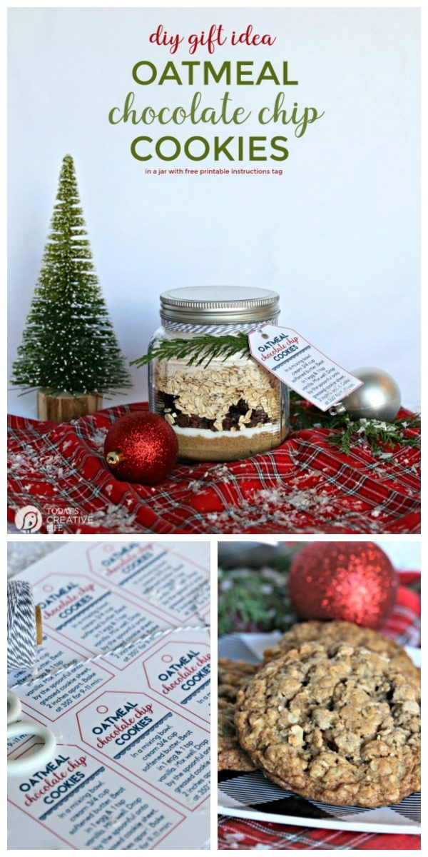 Oatmeal Cookie Mix in a Jar Recipe | Layered Cookie Mix DIY Gift | Homemade holiday gift ideas | Edible Gifts | Gifts from the kitchen | Oatmeal Chocolate Chip Raisin Cookies | Mason Jar Gifts | TodaysCreativeLife.com