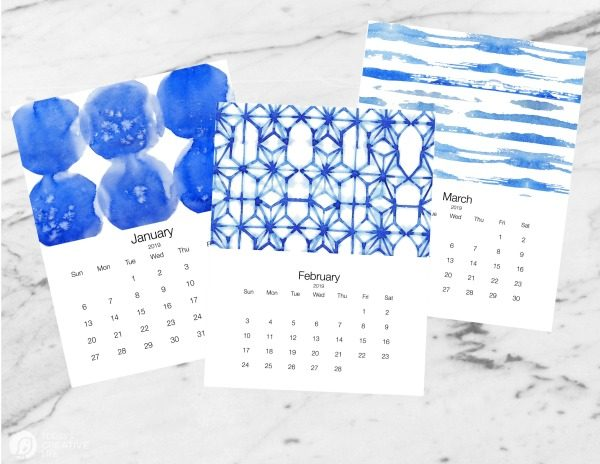 Free Printable 2019 Calendar | Shibori Inspired | Today's Creative Life