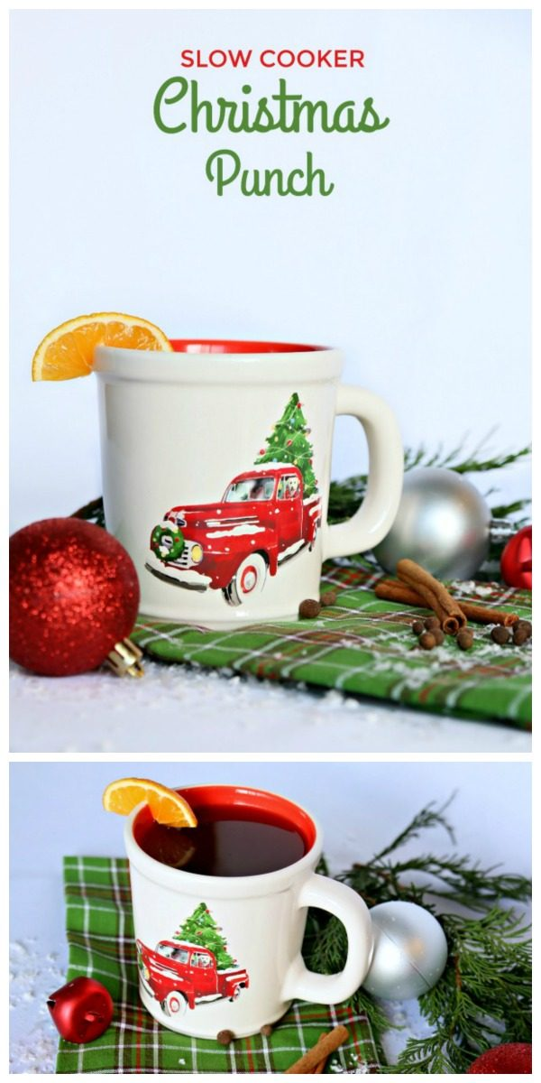 Photo collage of holiday mug with red truck filled with Christmas punch