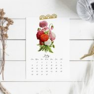 2019 Printable Botanical Flower Calendar