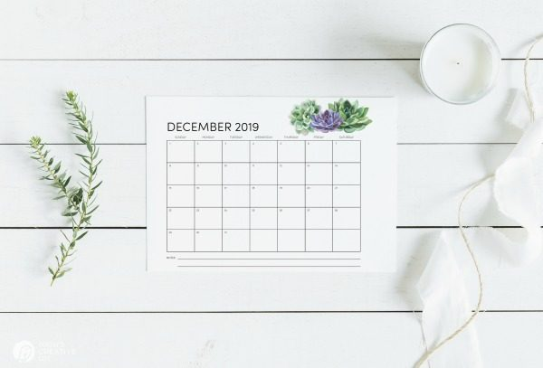 Print your own Calendar 2019 | TodaysCreativeLife.com