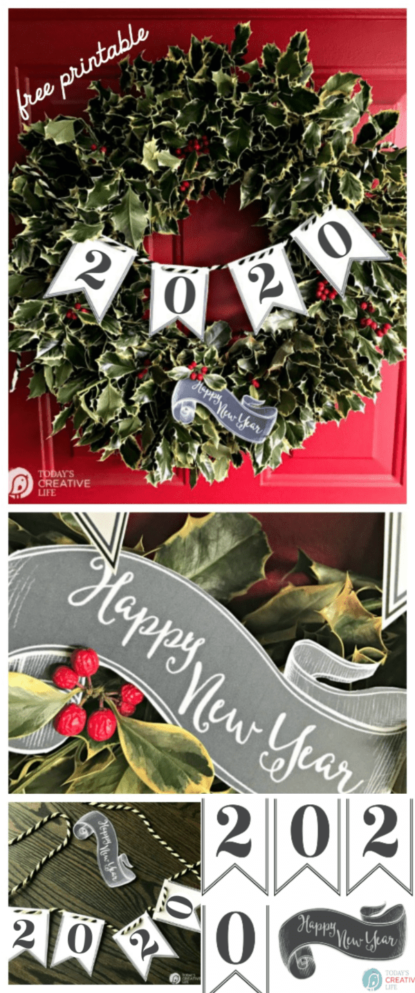 Photo Collage for Printable paper banner for New Years Eve