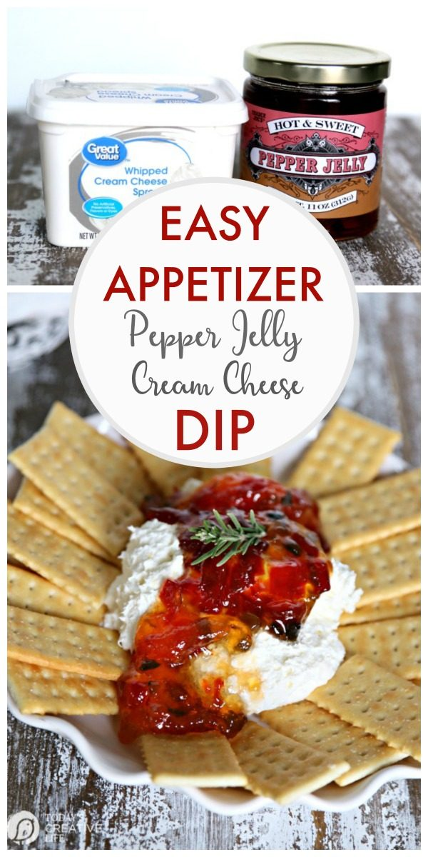 Pepper Jelly Cream Cheese Party Dip | Easy Appetizer and Dip Recipes | Party Food | Holiday Appetizer recipe ideas | Potluck recipes | Easy to make appetizers | TodaysCreativeLife.com