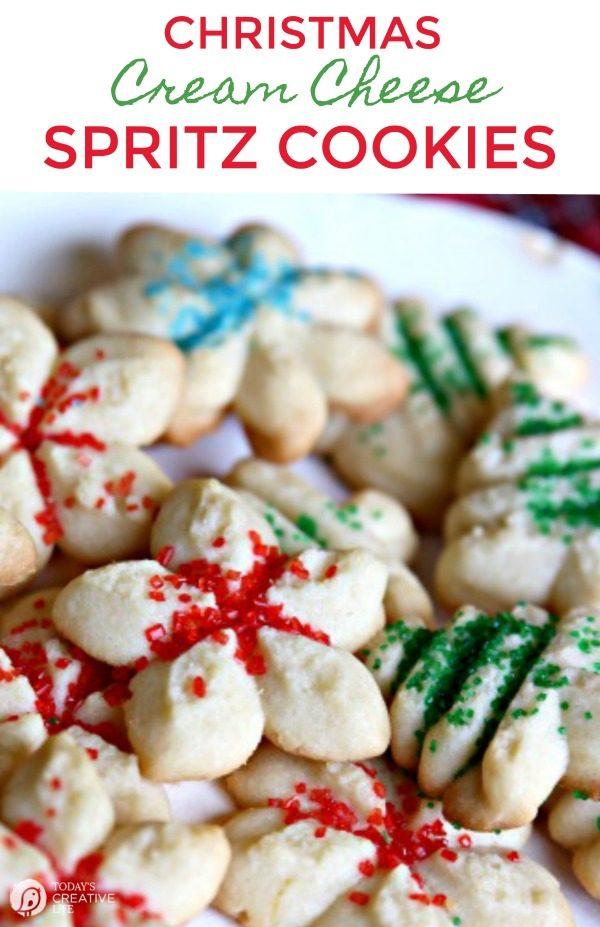 Cream Cheese Spritz Cookie Recipe | Traditional Christmas Cookies | Butter Cookie Spritz Recipe | Holiday Cookies | TodaysCreativeLife.com