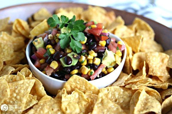 Black Bean and Corn Salsa with Avocado | Party Food Recipes | Appetizer ideas | TodaysCreativeLife.com