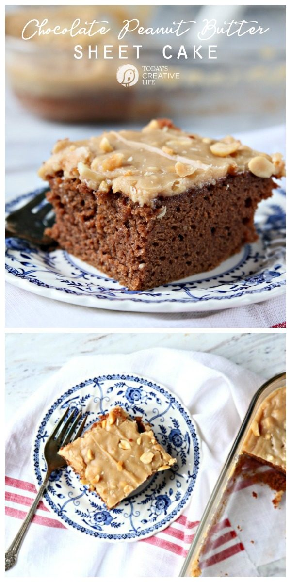 Chocolate Peanut Butter Sheet Cake Recipe from Scratch | Made with sour cream and peanut butter frosting | Homemade chocolate cake that's moist and delicious. Sunday Dinner Cake Recipe | Birthday Cake Ideas | TodaysCreativeLife.com
