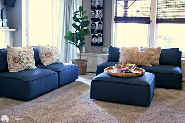 Finished Basement Decorating for Teens | Teen Hangout Decorating ideas on a budget | TodaysCreativeLife.com