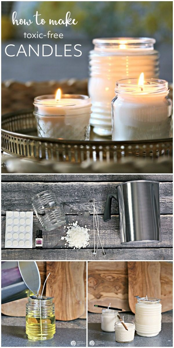 How to Make Natural Non-Toxic Candles | Toxin Free DIY Candles made with soy wax, lead free, chemical free wicks and natural essential oils. Today's Creative Life