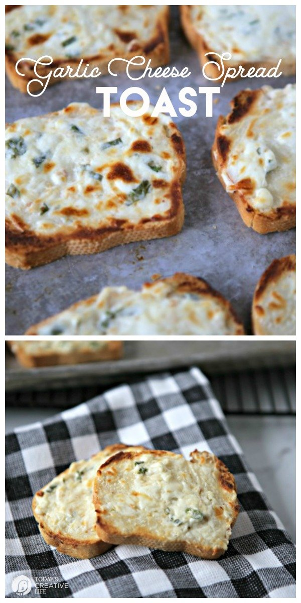 Creamy Garlic Cheese Bread | The ultimate garlic cheese bread recipe with cream cheese, sour cream parmesan, mayo and more | Use sliced or regular french bread. Quick and Easy | TodaysCreativeLife.com