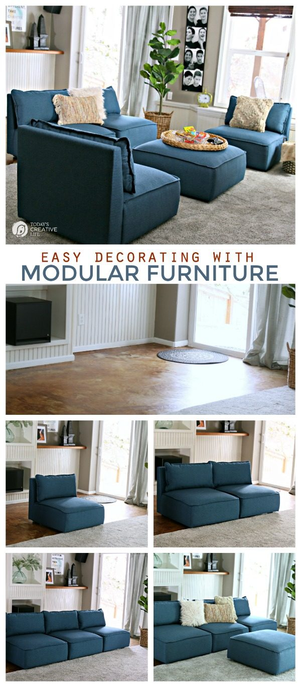 Decorating your Finished Basement | Create a Teen Hangout | Furniture for a finished basement | Modular Furniture Options #BHGLivebetter AD | TodaysCreativeLife.com