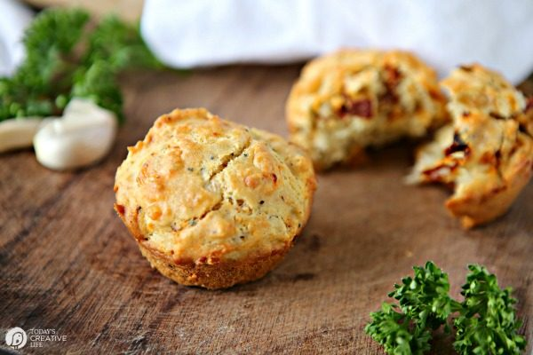 Savory Muffin Recipe with Sun Dried Tomatoes, Garlic and Cheese | TodaysCreativeLife.com