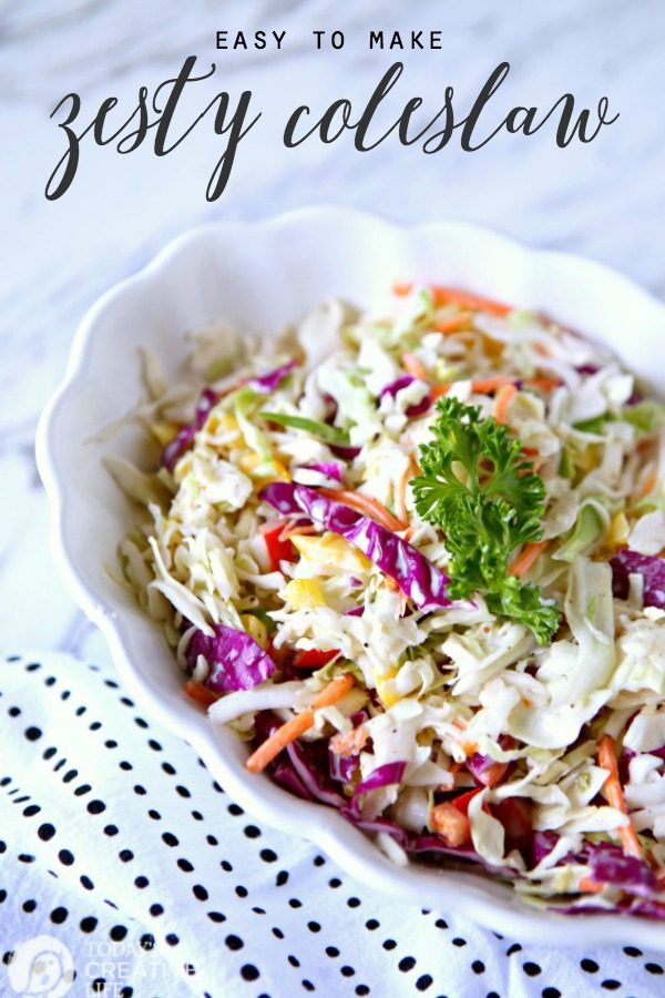 Zesty Coleslaw Salad Recipe | Classic coleslaw with yellow and red peppers, purple cabbage and more. TodaysCreativeLife.com