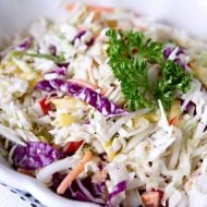 Zesty Coleslaw Salad Recipe | Simple to make cabbage coleslaw | Classic Recipe with onions, red and yellow peppers | TodaysCreativeLife.com
