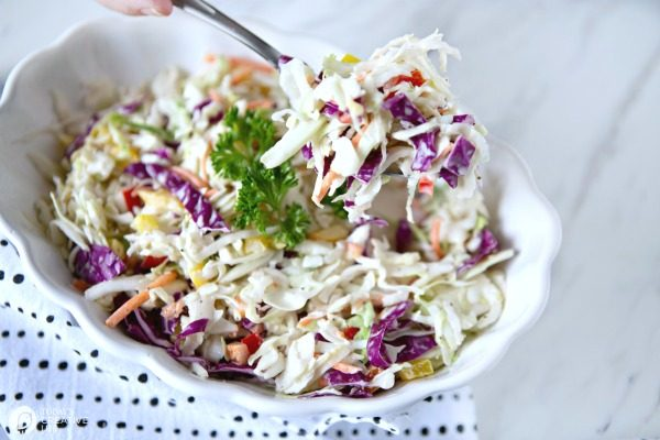 Zesty Coleslaw Salad Recipe | Classic Coleslaw with peppers and onions | TodaysCreativeLife.com