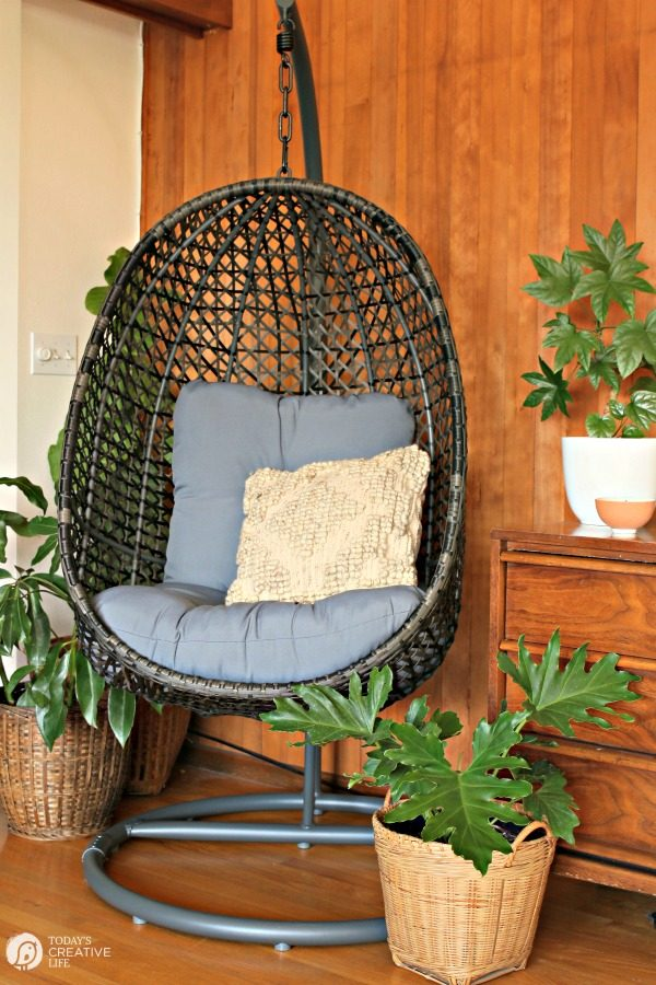 Decorating ideas for Spring | Hanging Wicker Egg Chair for inside or out | Budget Friendly | TodaysCreativeLife.com