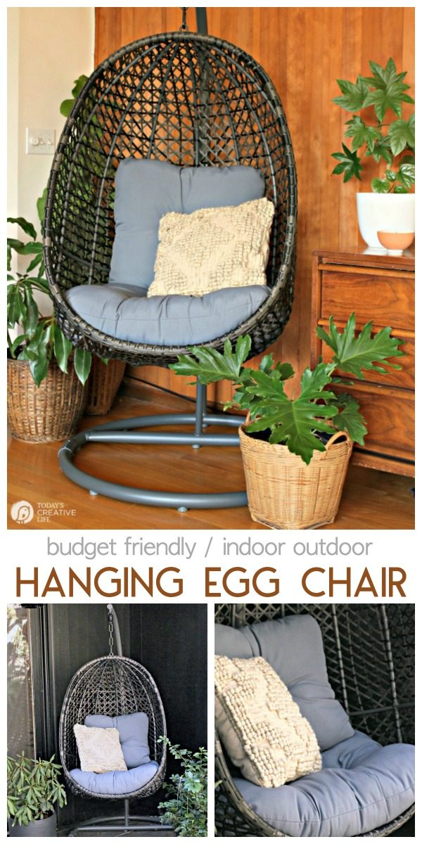 Decorating for Spring Ideas | Hanging Basket Wicker Egg Chair | Patio Furniture ideas | Decorating your patio | Budget Friendly outdoor decor ideas | TodaysCreativeLife AD #BHGLivebetter