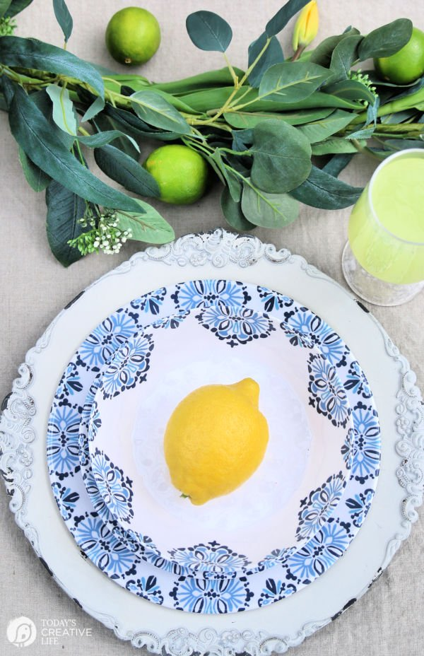 Blue and White Melamine Outdoor Patio Dishes | TodaysCreativeLife.com