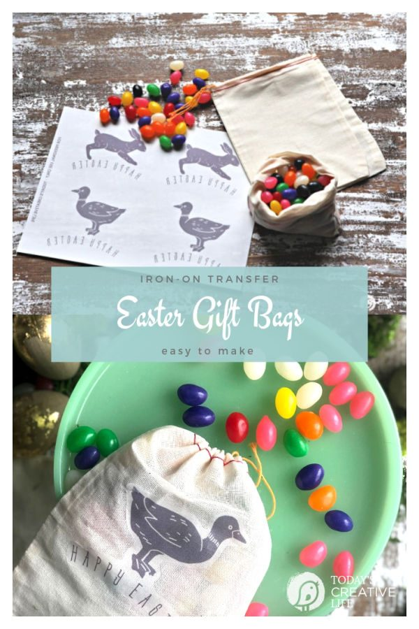 DIY Easter Treat Bags | Iron-on transfer canvas easter gift bags | easy to make | Easter Table place setting | Easy Easter Gift Ideas | See the full tutorial on Today's Creative Life