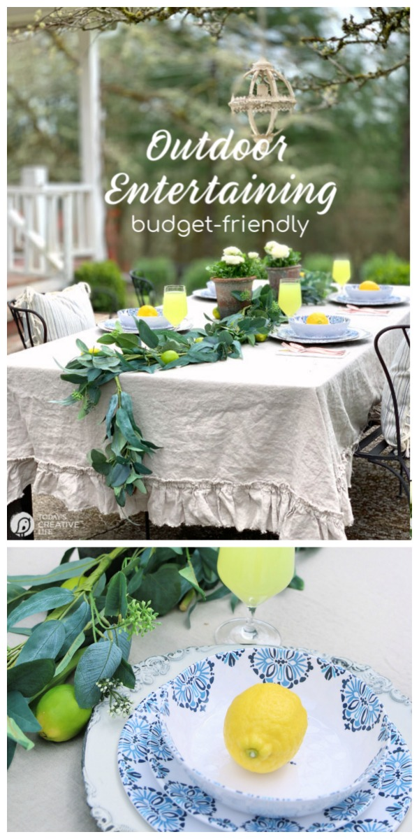 Setting your Outdoor Table | Dining Al Fresco Ideas | Decorating your outdoor table | Budget Friendly Patio Dining | Melamine Dishes Dinnerware Sets | #BHGLivebetter AD | TodaysCreativeLife.com