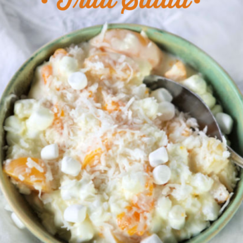 Coconut Fruit Salad Recipe with Marshmallows, Cream Cheese and Yogurt. Holiday Dinner Side Dish | Easter Salad Recipe | TodaysCreativeLife.com