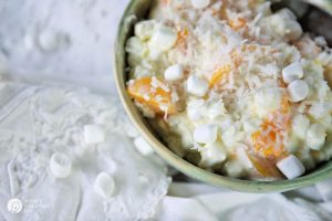Creamy Fruit Salad | Coconut, Peaches, Mandarin Oranges and Pineapple | TodaysCreativeLife.com