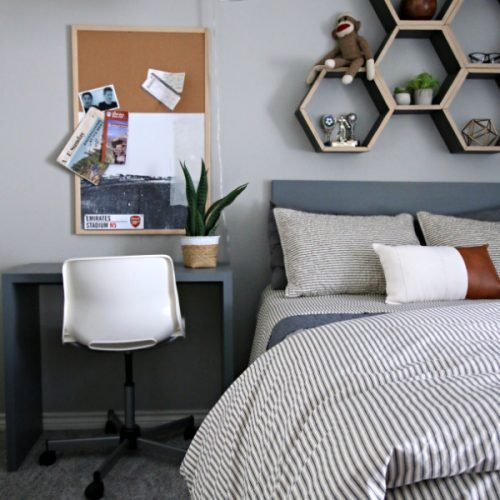 Bedroom Ideas for Young Men | Wall Art Cork Board | TodaysCreativeLife.com