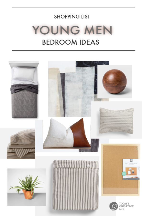 Shopping List for Young Man Bedroom Makeover | TodaysCreativeLife.com