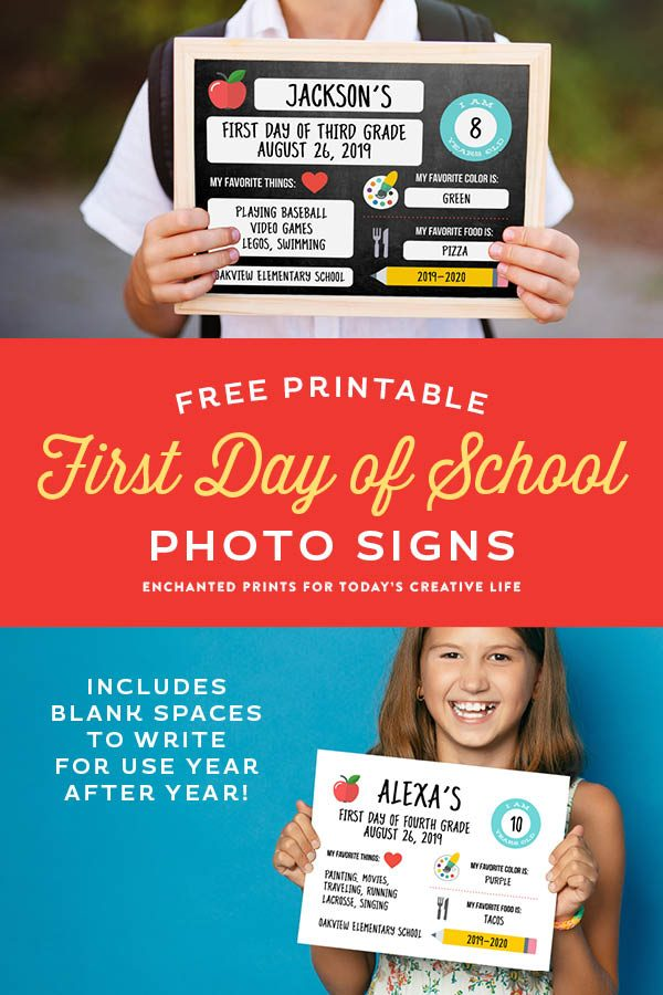 picture regarding Free Printable Back to School Signs identified as 1st Working day of Faculty Image Printables Todays Imaginative Lifetime