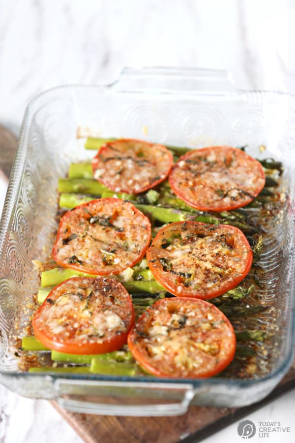 Tomato Asparagus side dish in casserole dish