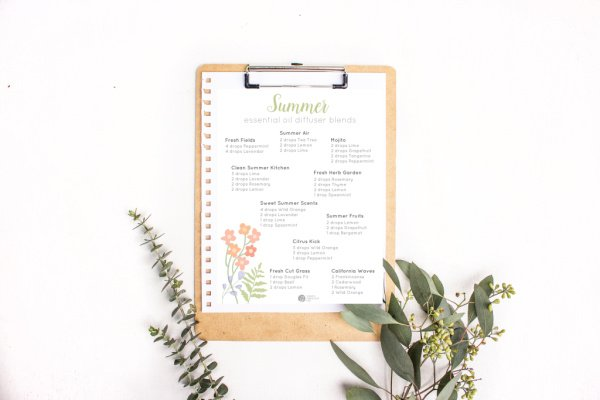 Clipboard with essential oil diffuser blend recipes attached.