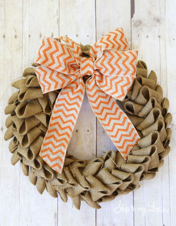 wreath made from burlap