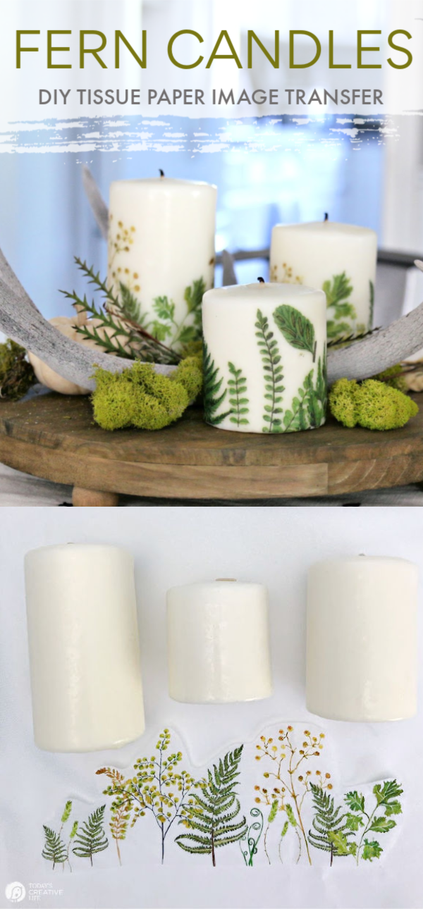 White Candles with Ferns Craft supplies