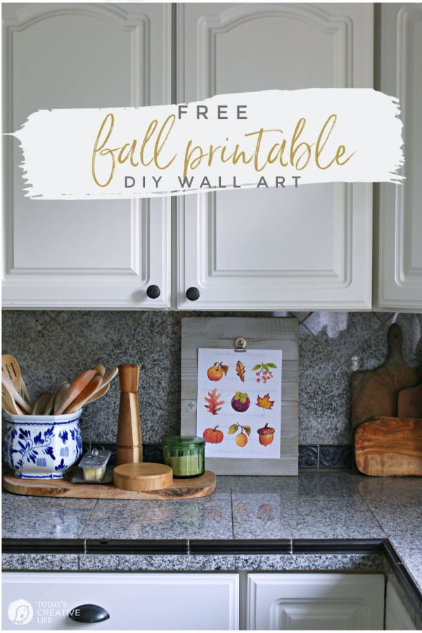 Kitchen decorated for Fall with printable