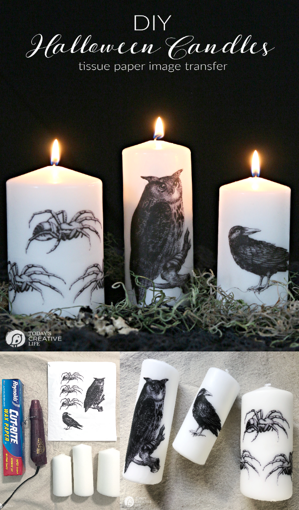 White candles with halloween graphics on them. Supplies for making halloween candles