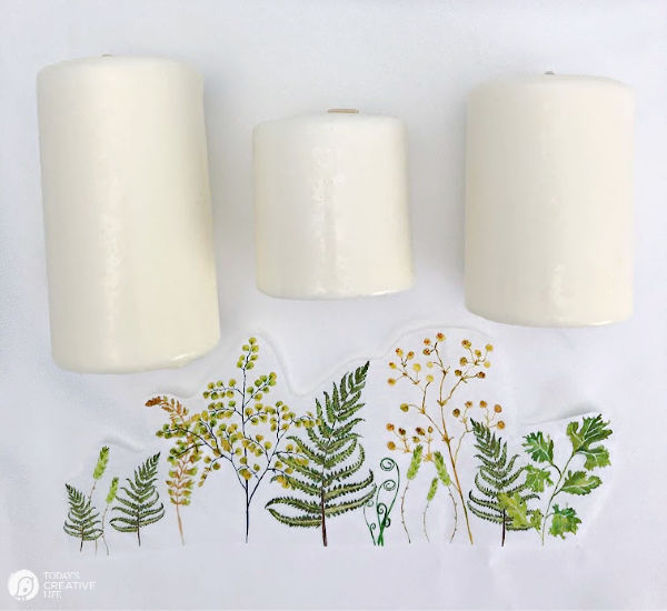 White candles and printed ferns on tissue paper.