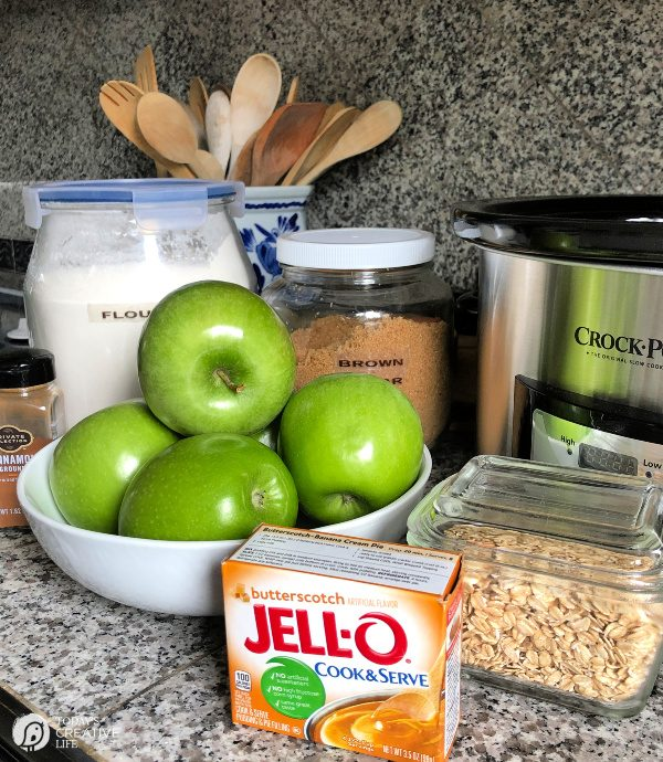 ingredients for butterscotch apple crisp