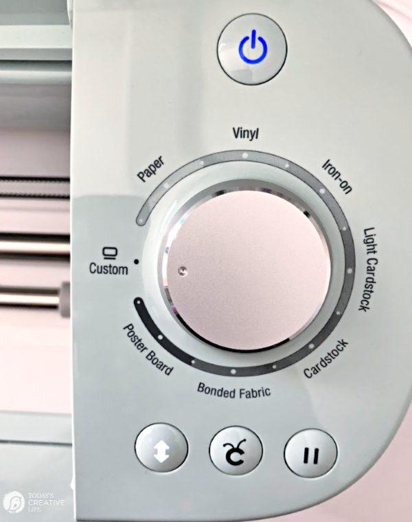 Cricut Machine Materials Dial.