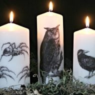 DIY Image Transfer Candles for Halloween