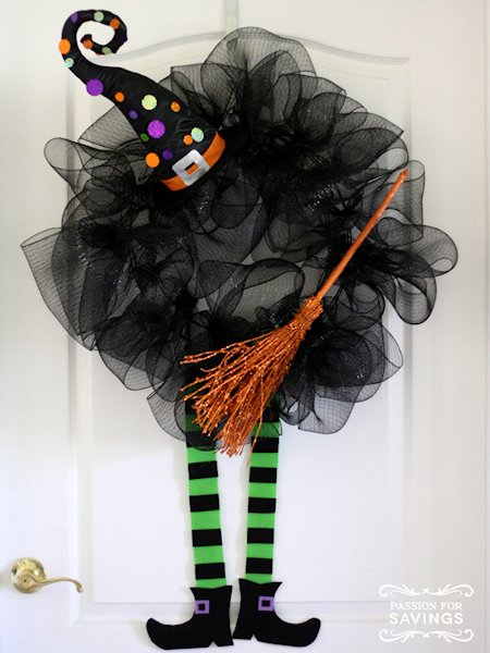 Halloween Wreath with witches legs