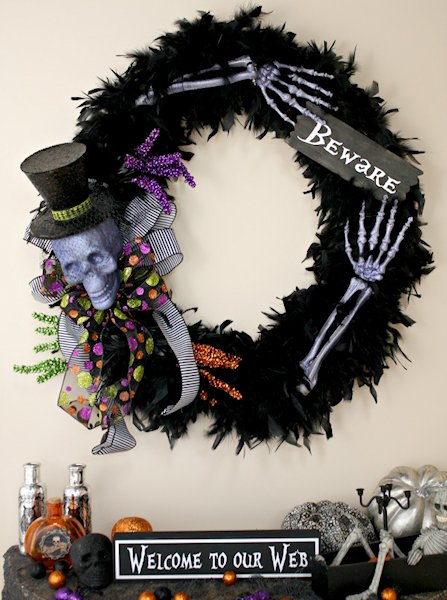 Black Feather wreath with halloween decorations